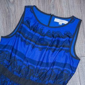 LOFT Dresses - Blue & Black A-line Lace-print detail dress